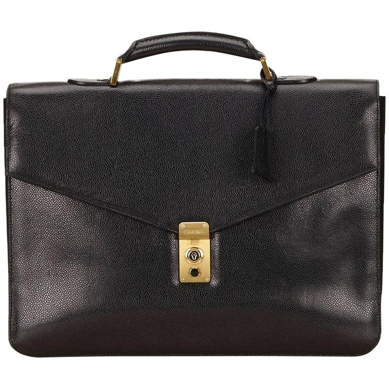 Chanel Black Caviar Leather Briefcase For Sale