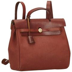 Hermes Brown Canvas and Leather Herbag Backpack