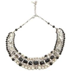 CHANEL Necklace in Black and Nacreous Glass Pearls and Rhinestones