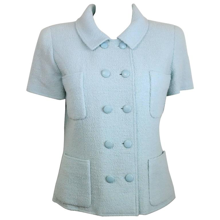 Chanel Baby Blue Boucle Wool Double Breasted Short Sleeves Jacket