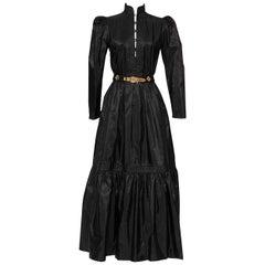 GUY LAROCHE 1970's Black Silk Taffeta Boho Dress With Belt