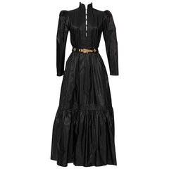 GUY LAROCHE 1970's Black Silk Taffeta Boho Dress With Belt