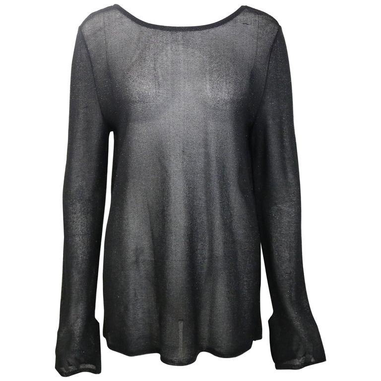 Gucci By Tom Ford Black Glitter See Through Long Sleeves Top  For Sale