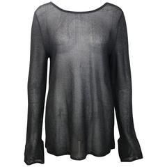 Gucci By Tom Ford Black Glitter See Through Long Sleeves Top