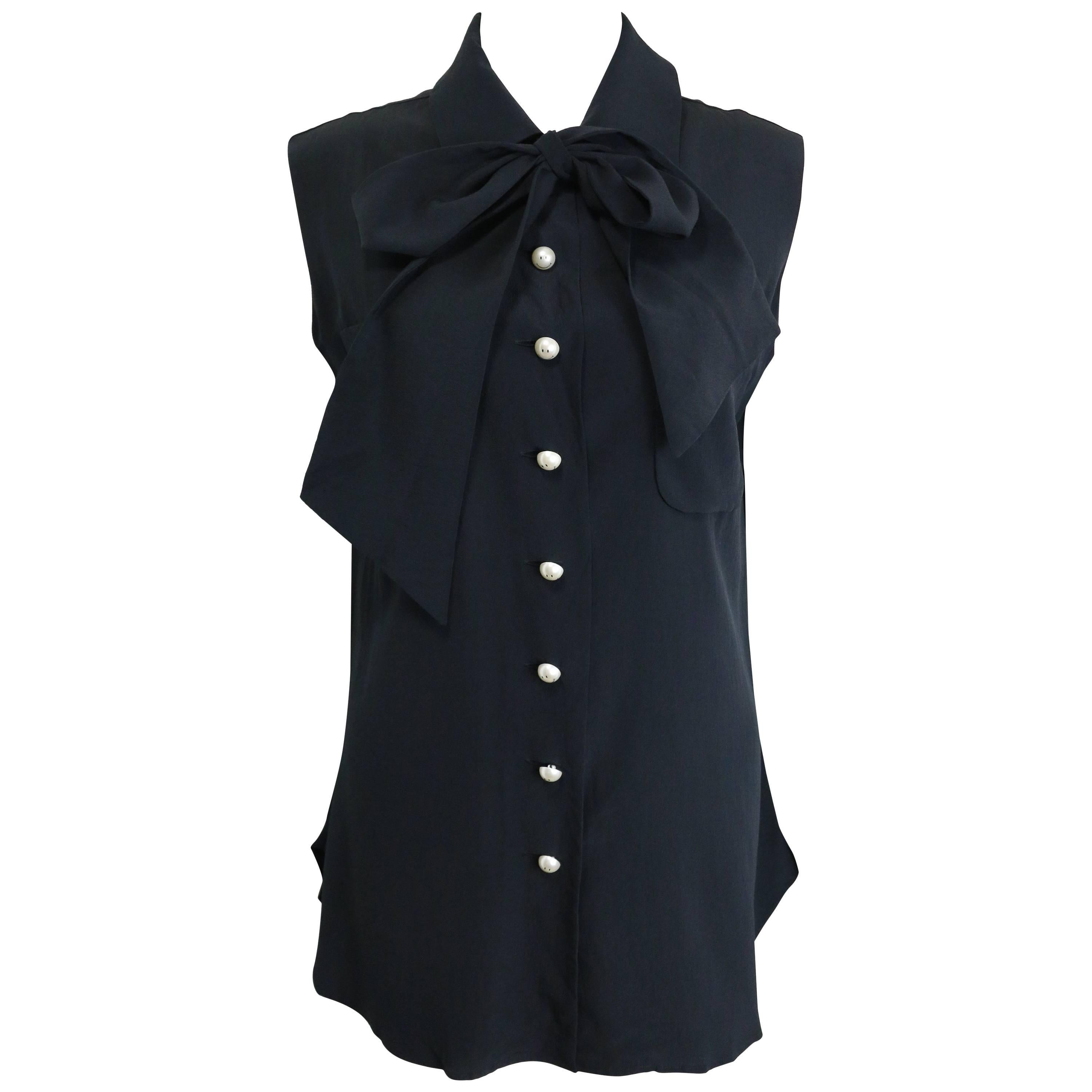 Moschino Couture Black Silk with Smiley Pearl Buttons Sleeveless Top