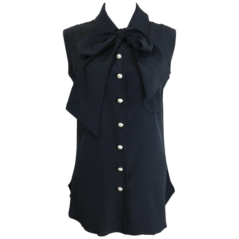 Moschino Couture Black Silk with Smiley Pearl Buttons Sleeveless Top  1