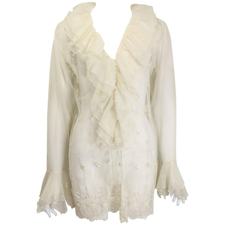 Nouvelle Couture Ivory Embroidered Ruffle Shirt