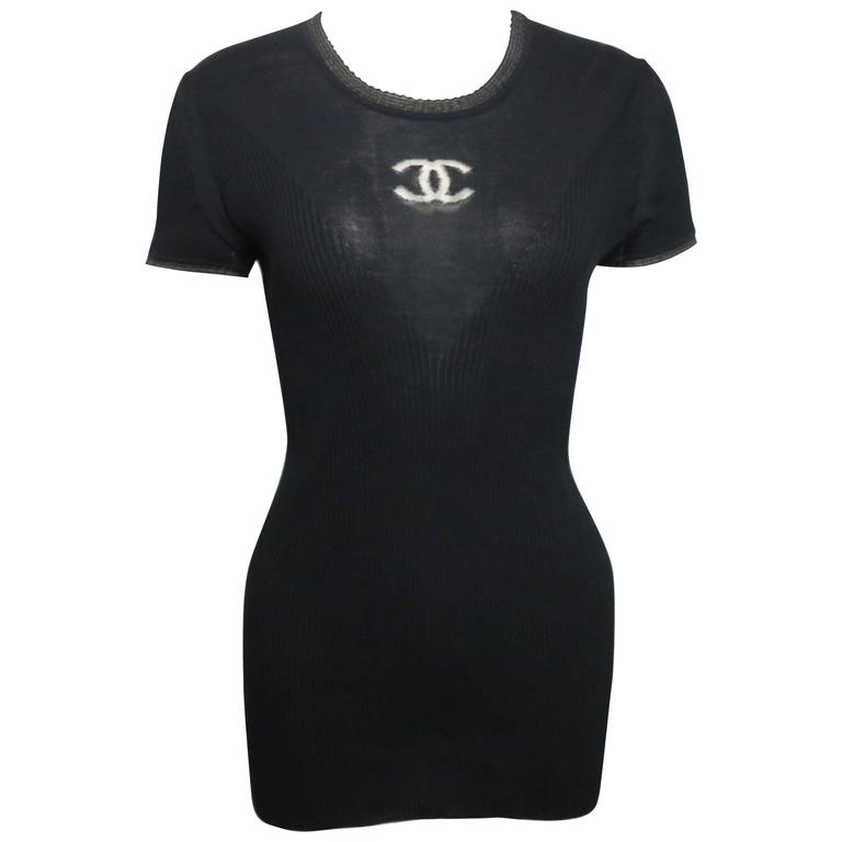 Chanel Black Cotton and Silk Short Sleeves Knitted Top