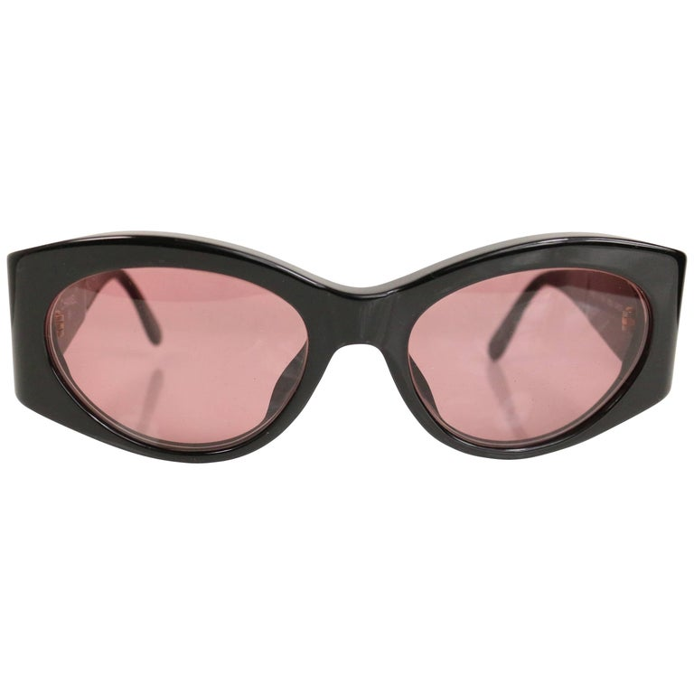 "Chanel Black Frame ""CC"" Mirror Sunglasses  For Sale"