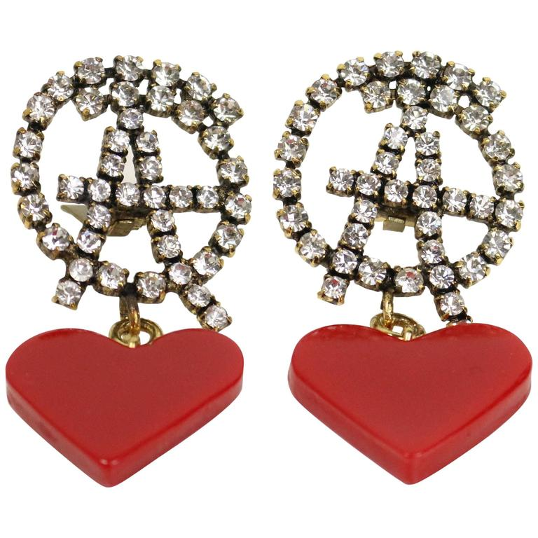 Moschino Anarchy Rhinestones With Drop Red Heart Shaped Clip On Earrings