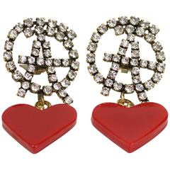 "Moschino ""Anarchy"" Rhinestones with Drop Red Heart Shaped Clip On Earrings"