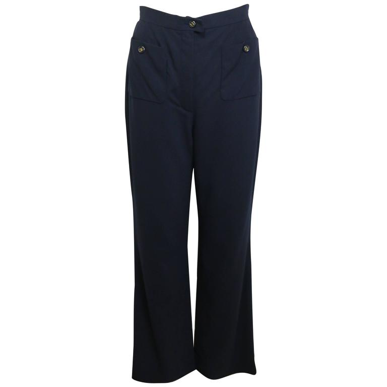 "Chanel Navy Gold ""CC"" Buttons Wool Wild Legs Pants"