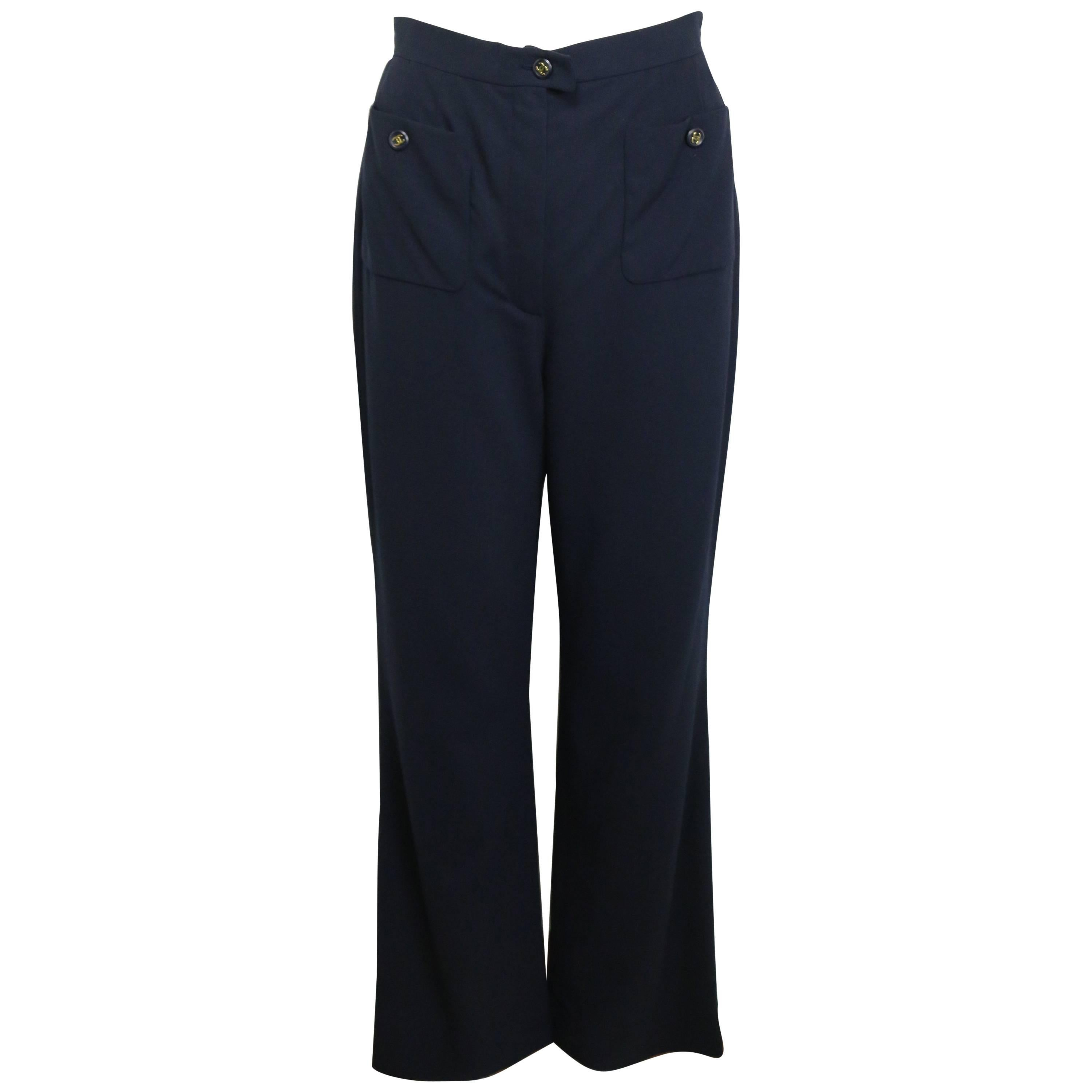 """Chanel Navy Gold """"CC"""" Buttons Wool Wild Legs Pants"""