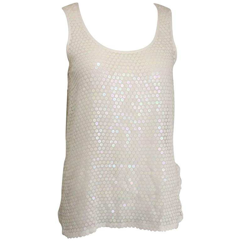 Crisca White Sequins See Through Tank Top