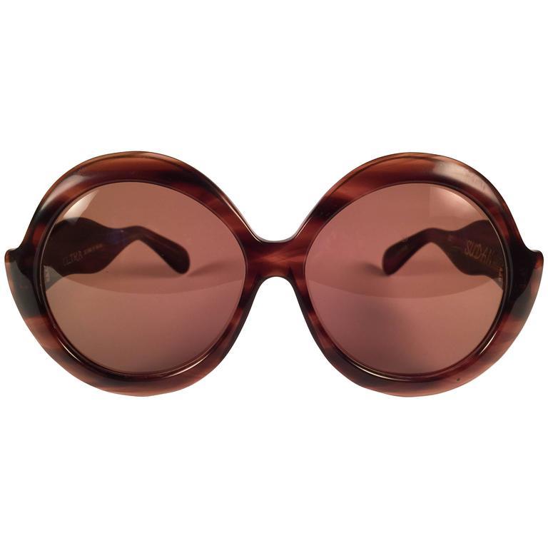998de4d5d3 New Vintage Ultra Sudan Black Rhinestones Rose Lens Oversized 1960 s  Sunglasses For Sale at 1stdibs