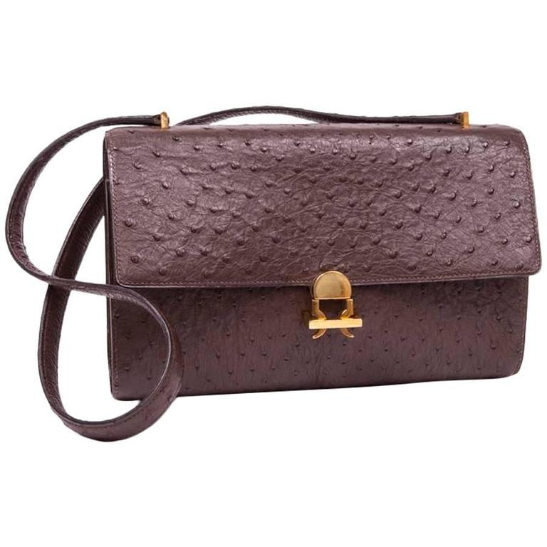 aa242ad88a0 Vintage HERMES bag in Brown Ostrich Leather at 1stdibs
