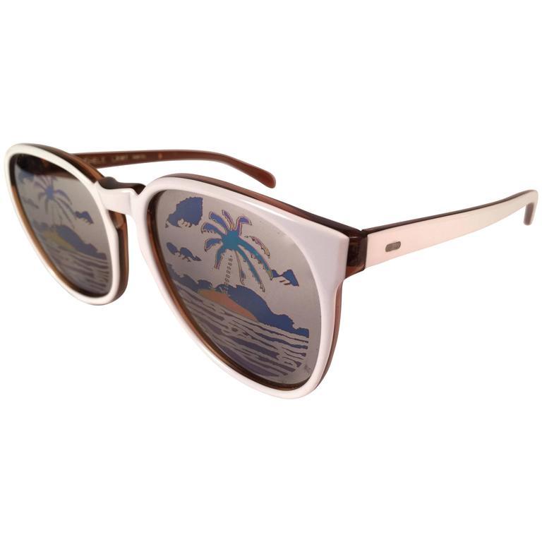 New Vintage Michele Lamy Rare White Frame Mirror Print Rick Owens Sunglasses  For Sale