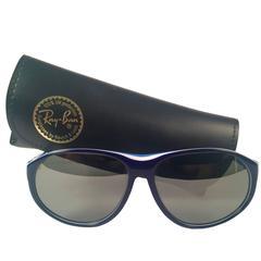 New Vintage Ray Ban B&L Arcadia White & Blue Mirror Lenses Sunglasses USA