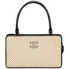 Chanel Ivory and Black Quilted Cotton Handbag