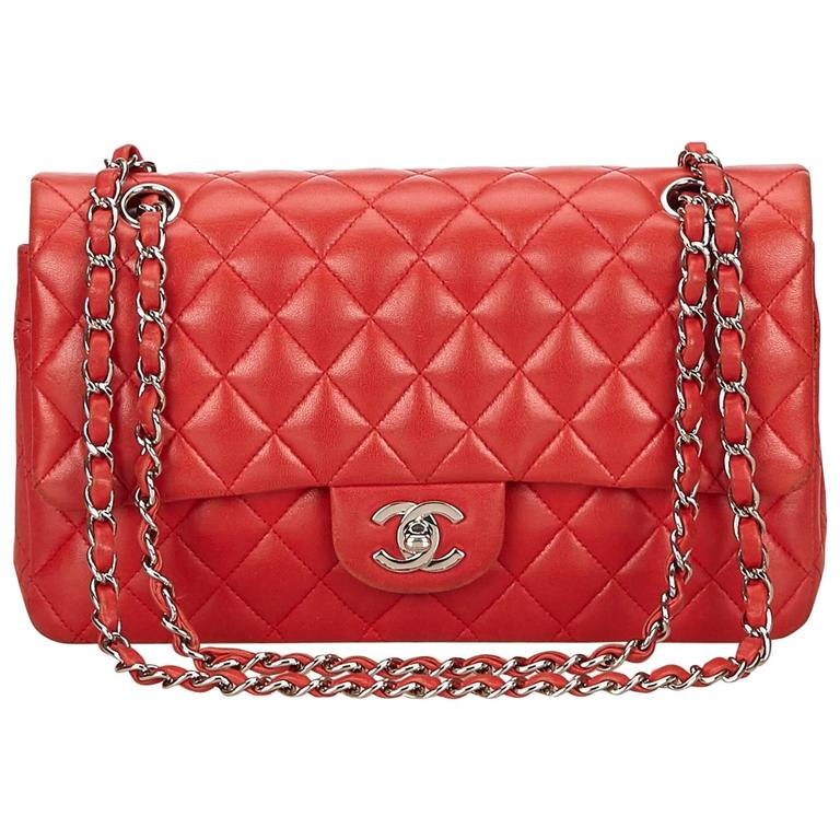 Chanel Classic Medium Red Lambskin Leather Double Flap Bag For