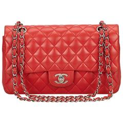 Chanel Classic Medium Red Lambskin Leather Double Flap Bag