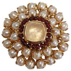 Goossens Paris Baroque Pearl, Garnet, and Rock Crystal Pin