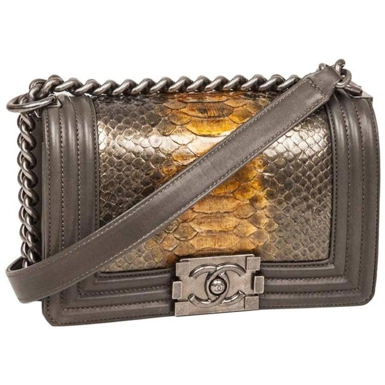 CHANEL 'Boy' Flap Bag in Kaki Lamb Leather and Green Bronze Python
