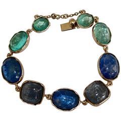 Goossens Paris Shades of Blue Rock Crystal Bracelet