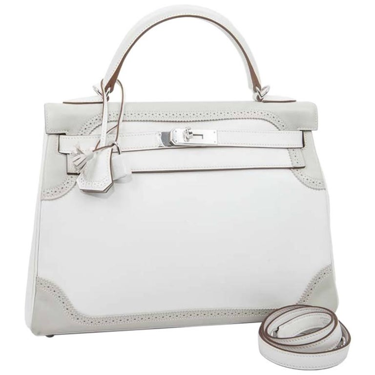 4af72122976 HERMES Kelly 32 Ghillies Bicolor Swift White and Pearl Gray Leather For Sale