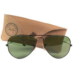 New Vintage Ray Ban Aviator 58Mm Black Grey Lenses 1980's B&L Sunglasses