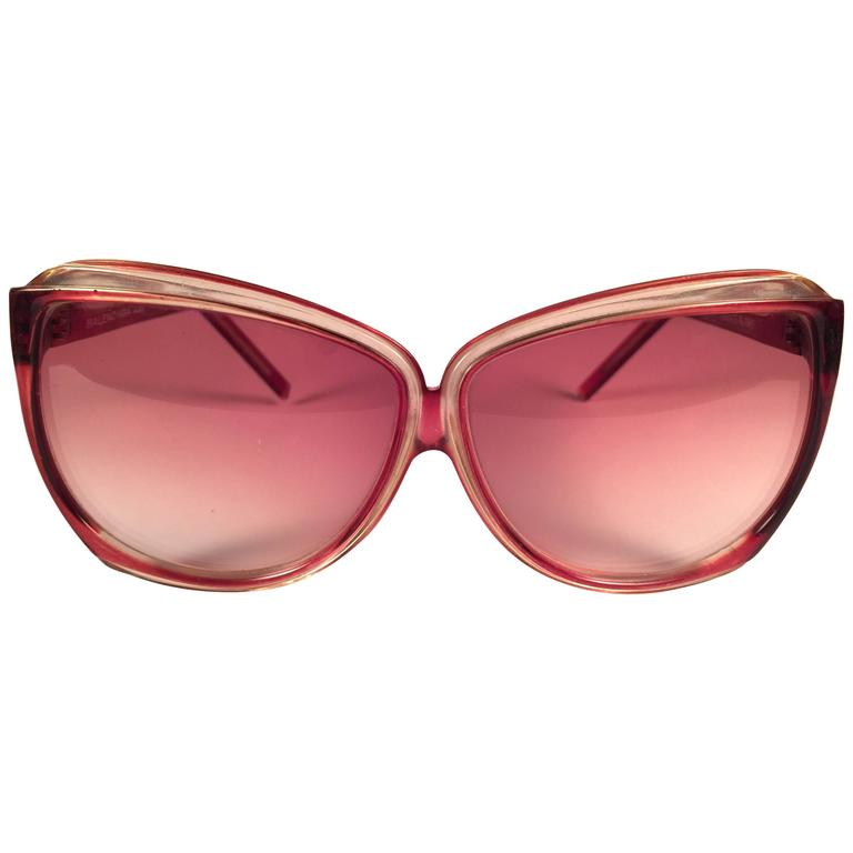 New Vintage Balenciaga Clear & Rose Pink Sunglasses 1970's Sunglasses