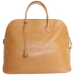 HERMES 'Bolide' Model in Gold Grained Leather Bag GM