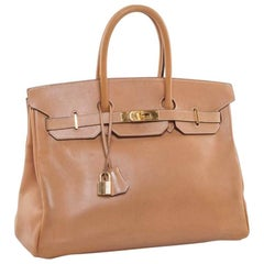 HERMES 'Birkin' 35 Gold Courchevel Leather Bag
