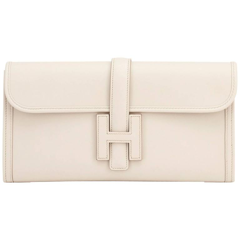 Hermes Beton Jige Elan 29cm Swift Off White Clutch Bag For
