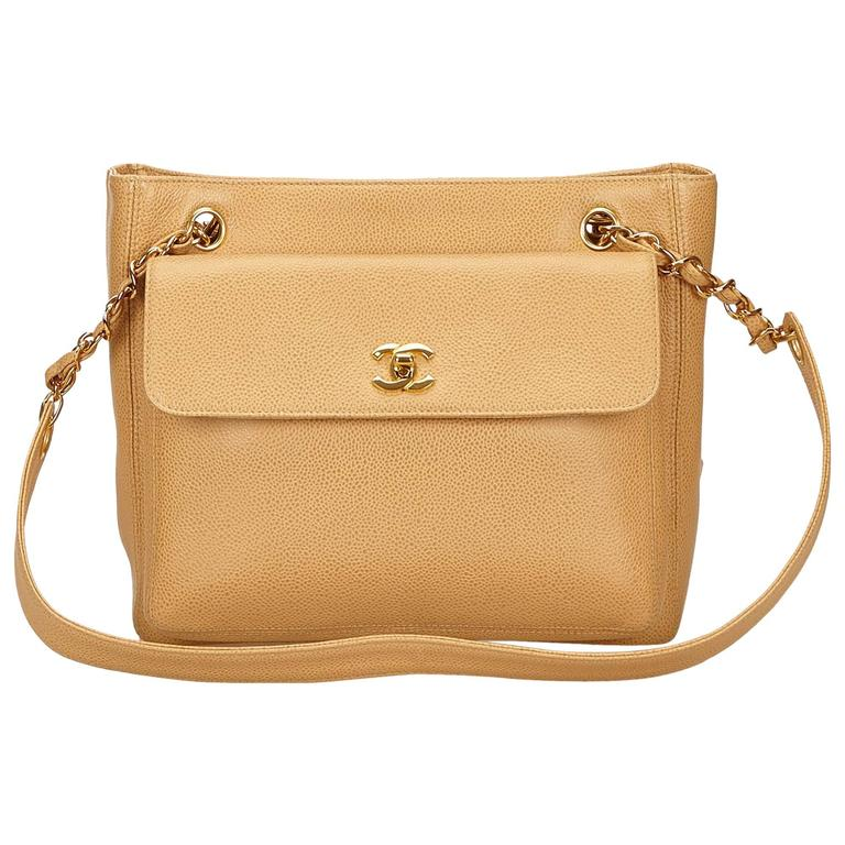 Chanel Beige Caviar Leather Shoulder Bag