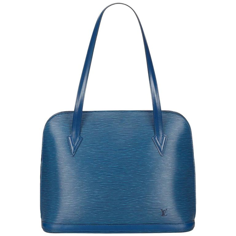 9c429887304d Louis Vuitton Blue Epi Leather Lussac Handbag For Sale at 1stdibs