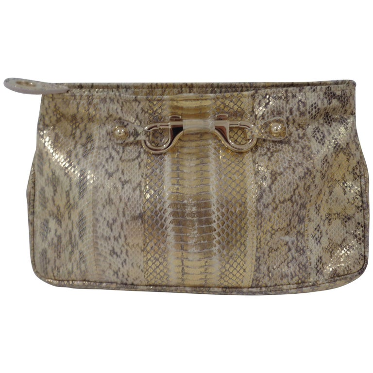 Jimmy Choo gold and silver tone pochette