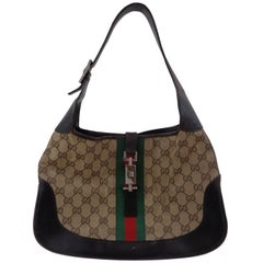 Gucci GG logo brown leather jackie bag