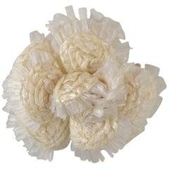 Chanel Ivory Raffia Camellia Brooch Pin