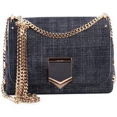 Jimmy Choo Lockett Chain Shoulder Bag Denim Petite