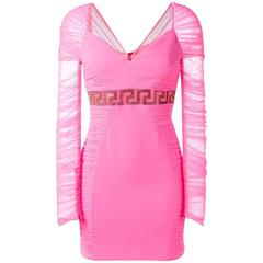 New VERSACE NEON PINK TULLE BODYCON DRESS with CRYSTALS