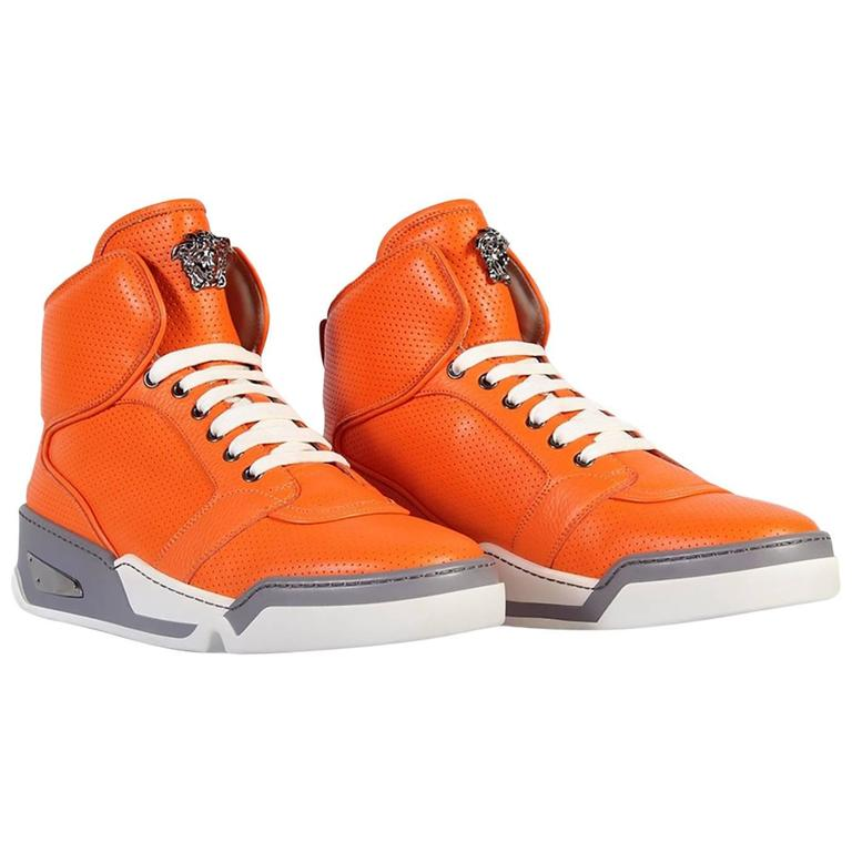 fed14147c New Versace Men s Orange Perforated Leather High-Top Sneakers For Sale