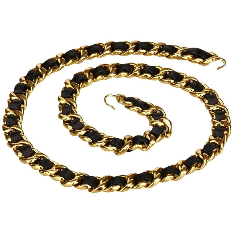 Chanel Black Leather Medallion Chain Belt