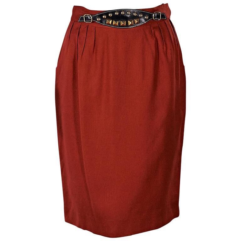 Red Vintage Hermès Belted Skirt 1