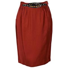 Red Vintage Hermès Belted Skirt