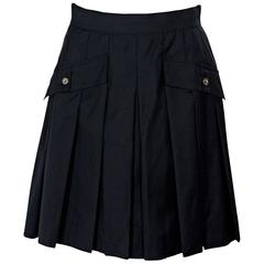 Navy Blue Vintage Chanel Pleated Skirt