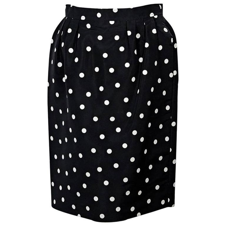 Black & White Vintage Chanel Polka Dot Skirt 1