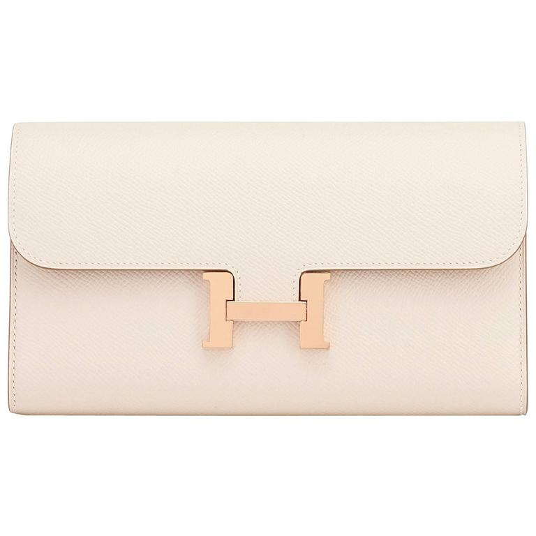 Hermes Craie Off White Constance Wallet Clutch Rose Gold Hardware 1