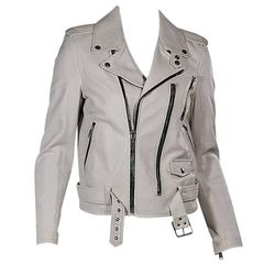 White Saint Laurent Leather Moto Jacket