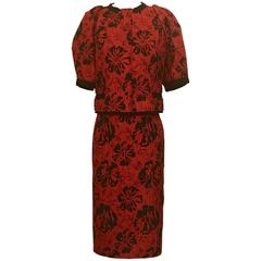 Dolce & Gabbana Red and Black Hibiscus Floral Print Jacquard Skirt Suit